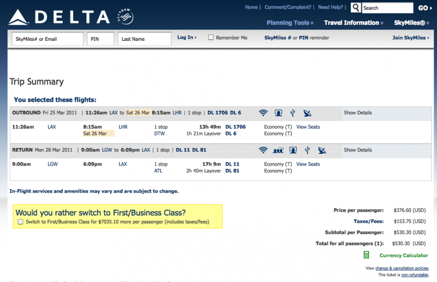 Cheap Delta Flights to London $349 TOTAL from NYC $530