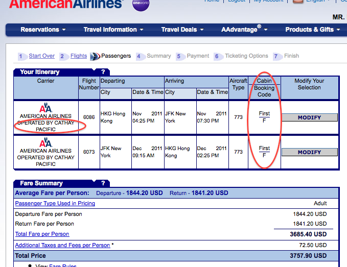 airline american flight reservation