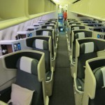 Looking down the cabin of Cathay's new business class cabin.