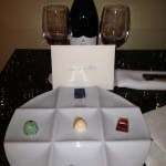 The welcome amenitiy I found in my room--truffles and wine. They know me well!