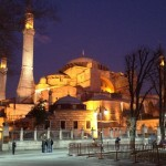 The Hagia Sophia all lit up at night.