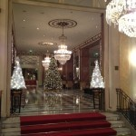 The lobby all decked out for Christmas.