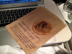 The chocolate chip cookie they gave us was a nice thought, but it was grossly buttery.