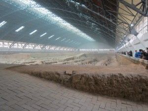 The first and largest pit of warriors. They estimate there are thousands still buried in here.