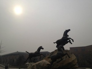The statue of seven horses outside the Terra Cotta Warrior Museum.