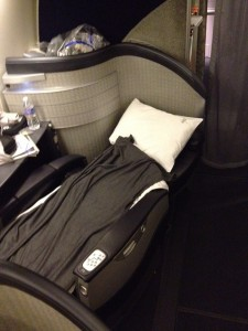 The fully reclined and made up Flagship First Class bed.