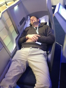 Testing out the new World Club Business Class...I could definitely get comfortable.