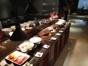 The extensive breakfast spread at the Executive Lounge.