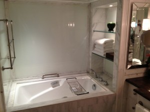 The soaking tub in the bathroom. Should I call my private butler to draw a bath?