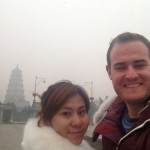 My guide Diana and me at the famous Big Wild Goose Pagoda. It's so smoggy!