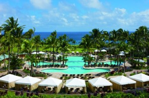 Pool cabanas at the Ritz-Carlton Kapalua.