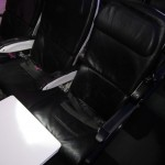 My seat with the tray table pulled out--didn't quite make for a good work desk.