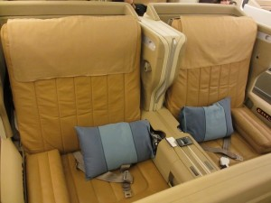 My seat for the next 19 hours! They call this color caramel, but I say it's more orange taffy.