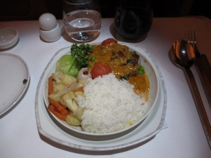 My main course: Thai-style duck with mixed vegetables and rice.