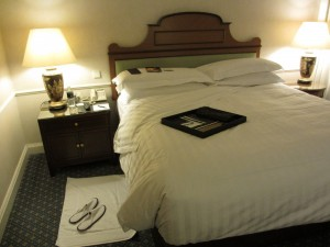 A view of my suite's bedroom, turned down for a nap after a very early morning arrival.