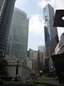 Walking through the soaring skyscrapers of Singapore's financial district.