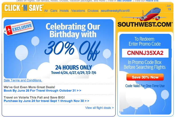 Southwest Airlines promo codes make booking your family vacations and business trips more affordable while showing you company loyalty. The codes can be used online in a few seconds, so redeeming your discounts is quick and easy.