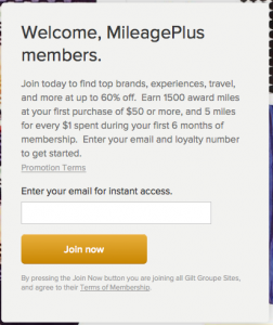 1,500 United Miles for Joining Gilt Groupe