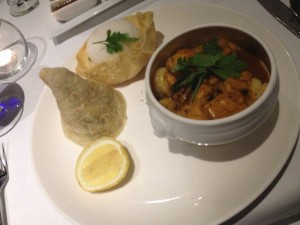 Our dinner at Azure included a local classic - Cape Malay curry prawns and chicken.