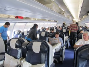 Overview of business class during boarding.