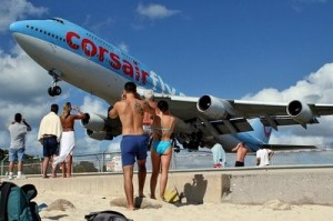 The planes at SXM land just feed over the public beach = incredible (or terrifying) plane watching