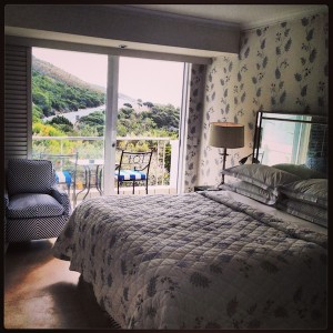 Inside the larger luxury room with mountain and ocean views.