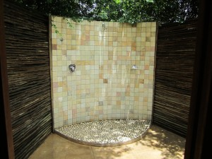 I loved the outdoor shower behind my suite.