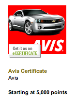 Avis through Amex Membership Rewards
