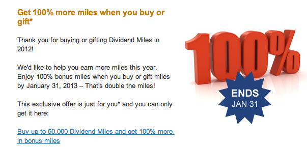 Targeted email offer for 100% US Airways Buy Miles Promotion ending January 31, 2013.