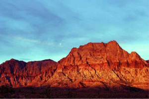 The rising sun illuminates the beautiful rock formations in Red Rock Canyon.