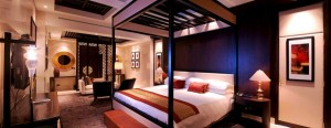 Guest room at Raffles Dubai.