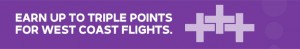 Earn double Elevate points for trips along the West Coast, and up to triple points between select cities.