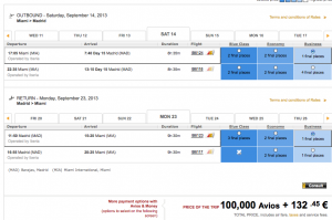 By contrast, the same itinerary using Iberia Avios is 100,000 Avios + $175 or so - a much better deal.