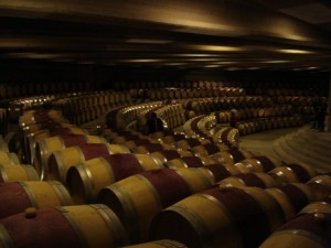 Montes plays Gregorian chants to its aging wines in the semi-circular barrel room.