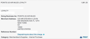 Points.com is not classified as TRAVEL-AIRLINE unfortunately