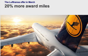 Lufthansa is offering a 20% mileage bonus for Miles & More members.