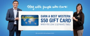 Earn a $50 Best Western Travel Card after three stays.