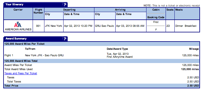My AA award ticket reservation, flying First Class on the new 777-300ER for 125,000 miles and $2.50.
