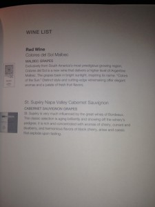 Red wine list