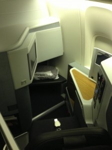 First Class seat from above