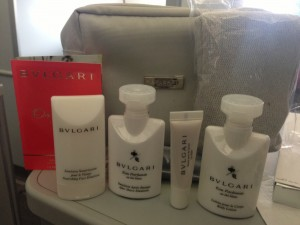 The amenity kit came with some nice Bvlgari goodies like