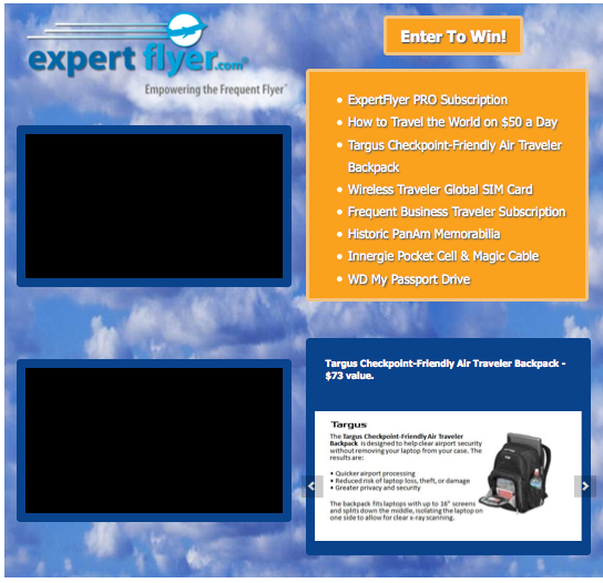 Enter ExpertFlyer's contest on Facebook for all kinds of travel prizes.