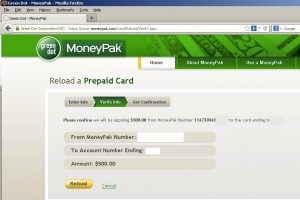 Enter your account info and the reload pack number to add funds.