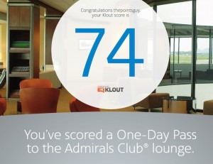 Thanks to my Klout score of 74, I got a free one-day pass to give away.