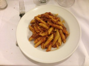 Penne with lamb ragu