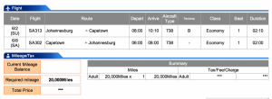 South African Airways JNB-CPT Economy Award