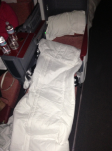 My bed fully reclined.