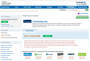 Travelocity earns 2 pts/$ while Orbitz and Expedia only earn 1 pt/$.