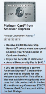American Express states exact criteria for being eligible for a sign-up bonus on the application page