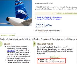 Amex points transfer to JetBlue at a dismal ratio.